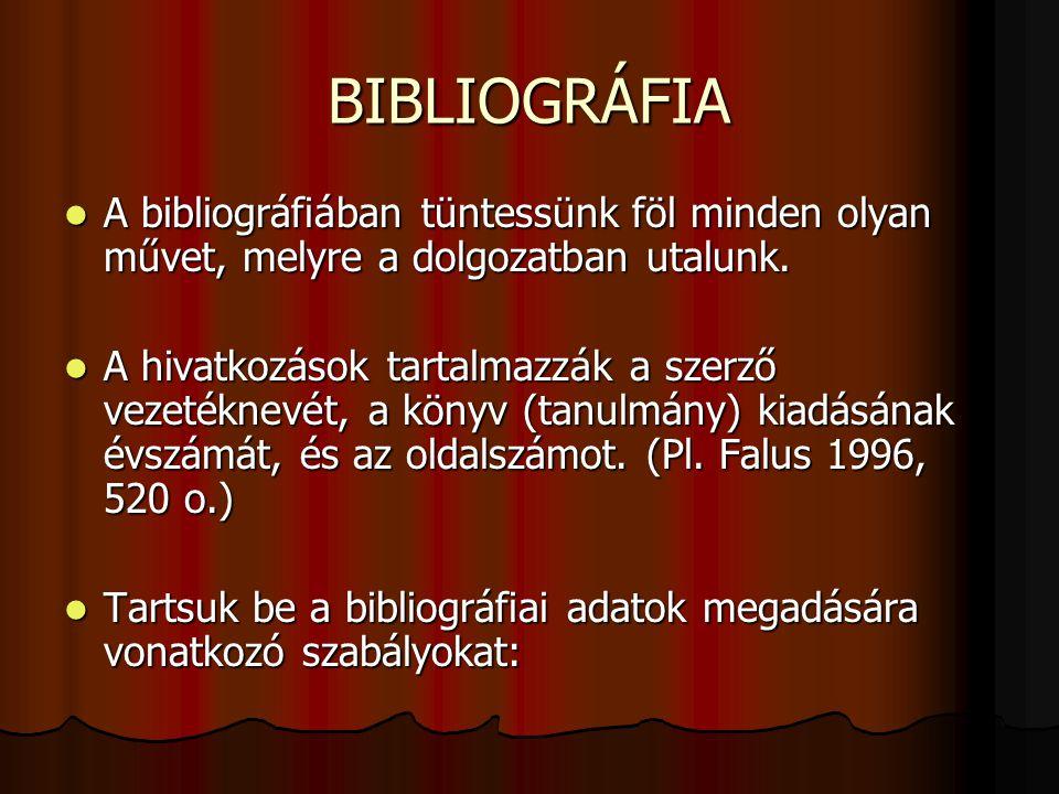 BIBLIOGRÁFIA A bibliográfiában tüntessünk föl minden olyan művet, melyre a dolgozatban utalunk.