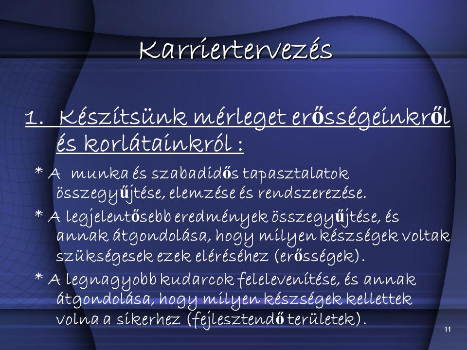 Karriertervezés 1. Készítsünk mérleget erősségeinkről és korlátainkról :