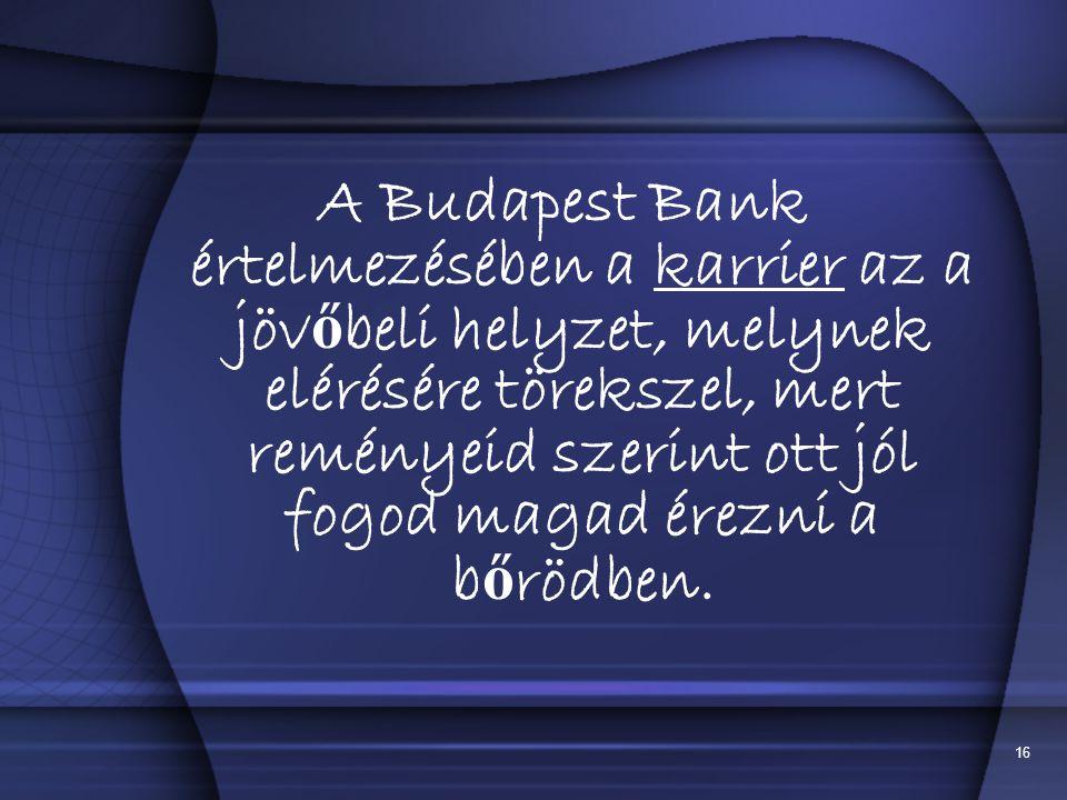 A Budapest Bank értelmezésében a karrier az a jövőbeli helyzet, melynek elérésére törekszel, mert reményeid szerint ott jól fogod magad érezni a bőrödben.