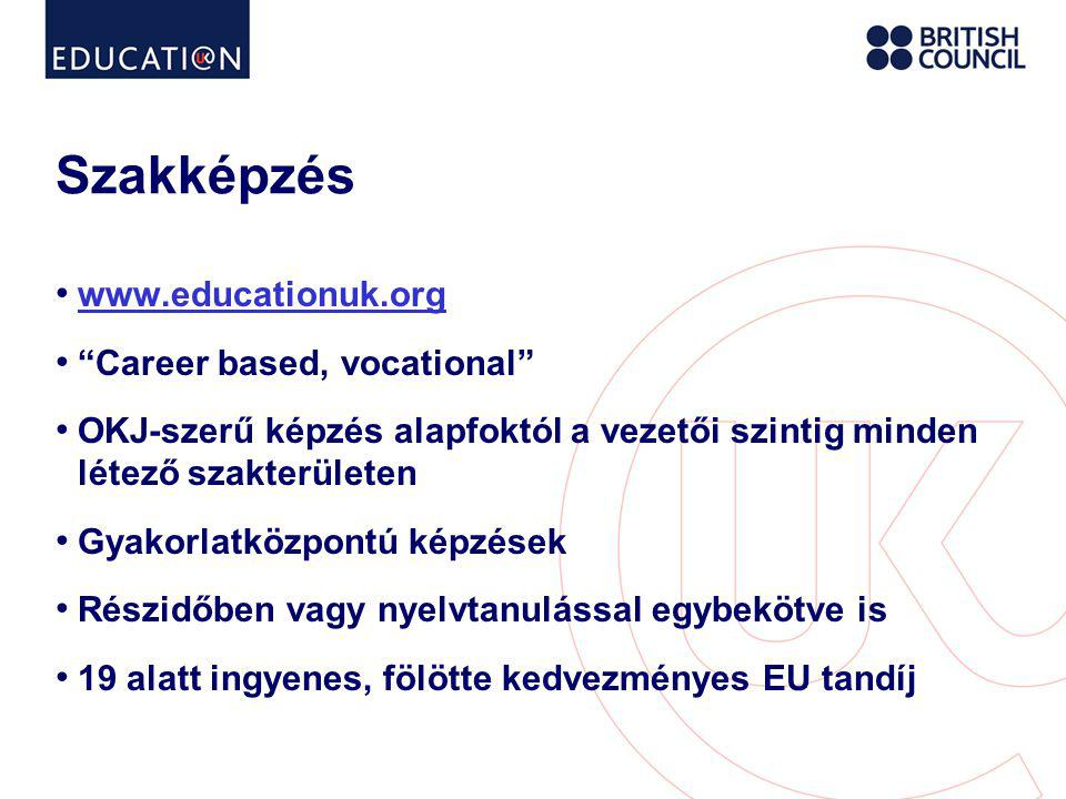 Szakképzés www.educationuk.org Career based, vocational