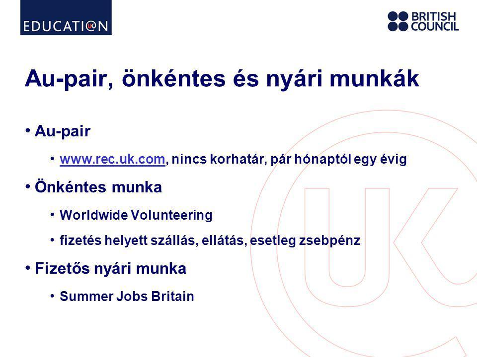 Au-pair, önkéntes és nyári munkák