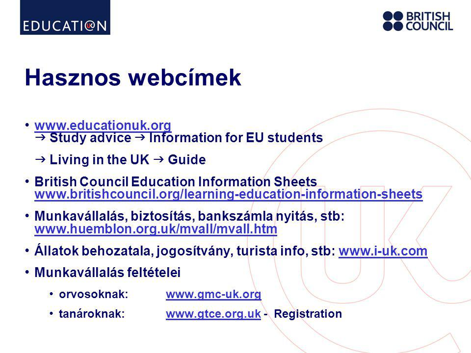 Hasznos webcímek www.educationuk.org  Study advice  Information for EU students.  Living in the UK  Guide.