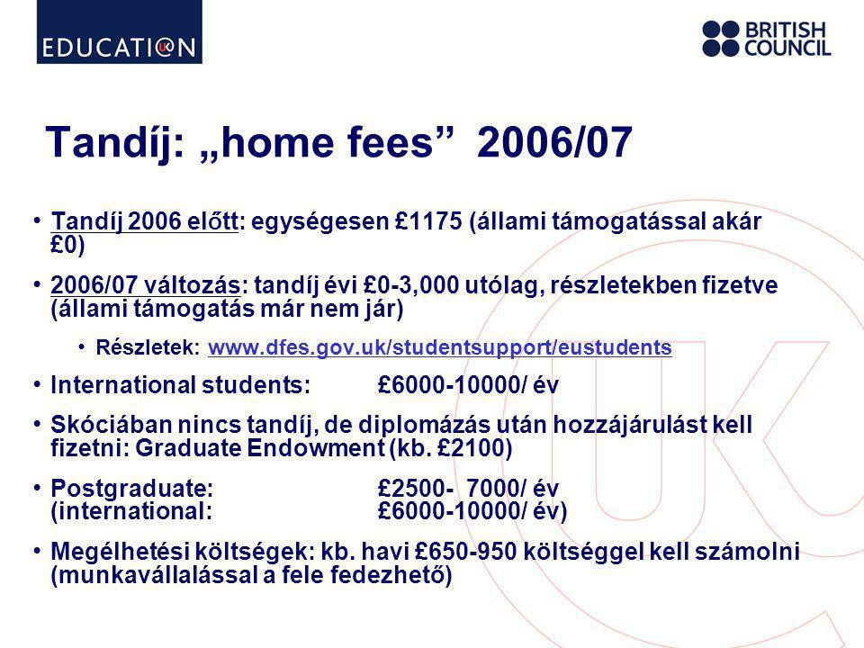 """Tandíj: """"home fees 2006/07 Tandíj 2006 előtt: egységesen £1175 (állami támogatással akár £0)"""