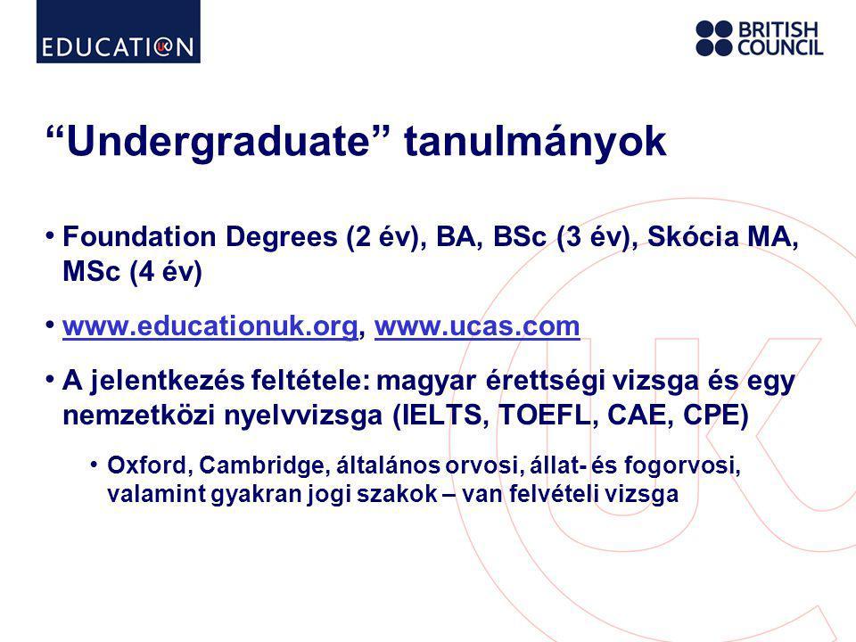 Undergraduate tanulmányok