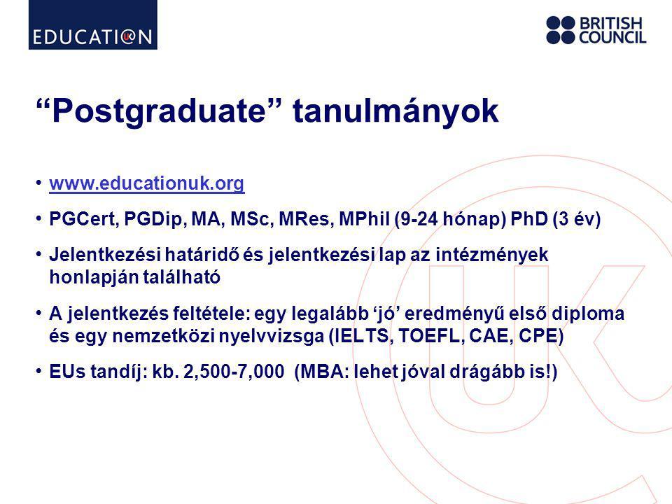 Postgraduate tanulmányok