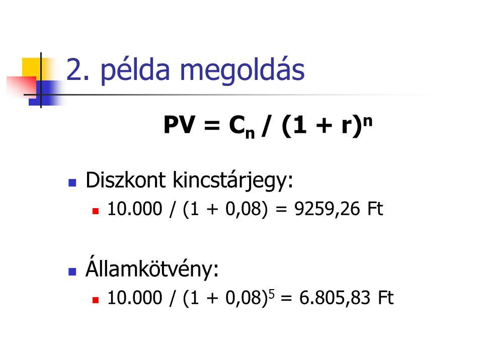 2. példa megoldás PV = Cn / (1 + r)n Diszkont kincstárjegy: