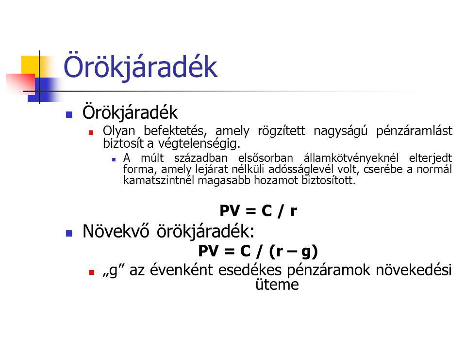 Örökjáradék Örökjáradék Növekvő örökjáradék: PV = C / r