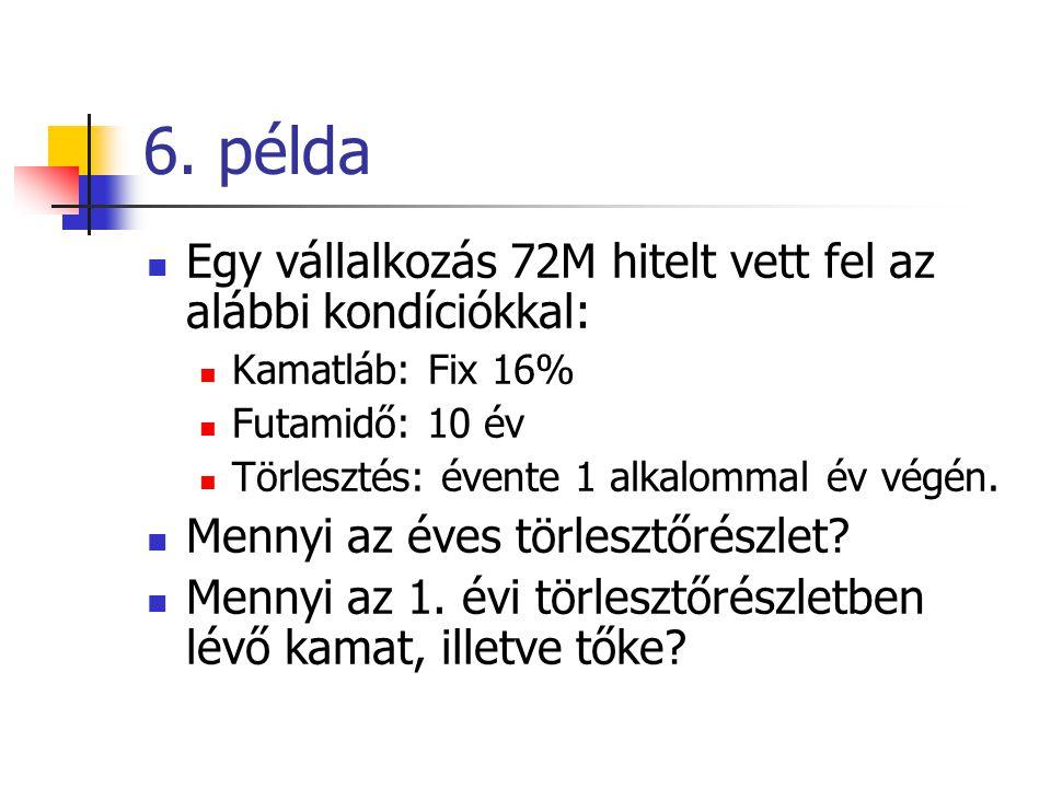 6. példa Egy vállalkozás 72M hitelt vett fel az alábbi kondíciókkal: