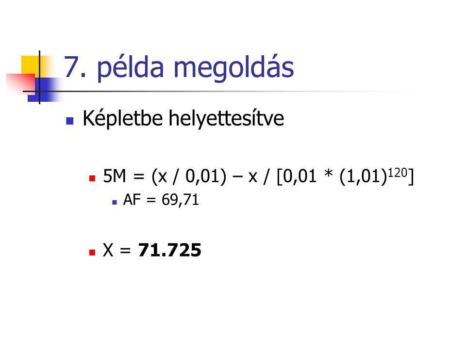 7. példa megoldás Képletbe helyettesítve