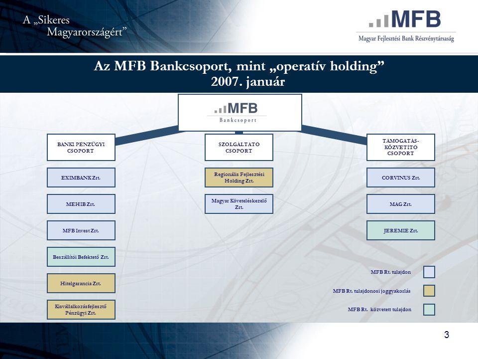 """Az MFB Bankcsoport, mint """"operatív holding 2007. január"""