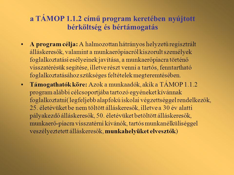 a TÁMOP 1.1.2 című program keretében nyújtott bérköltség és bértámogatás