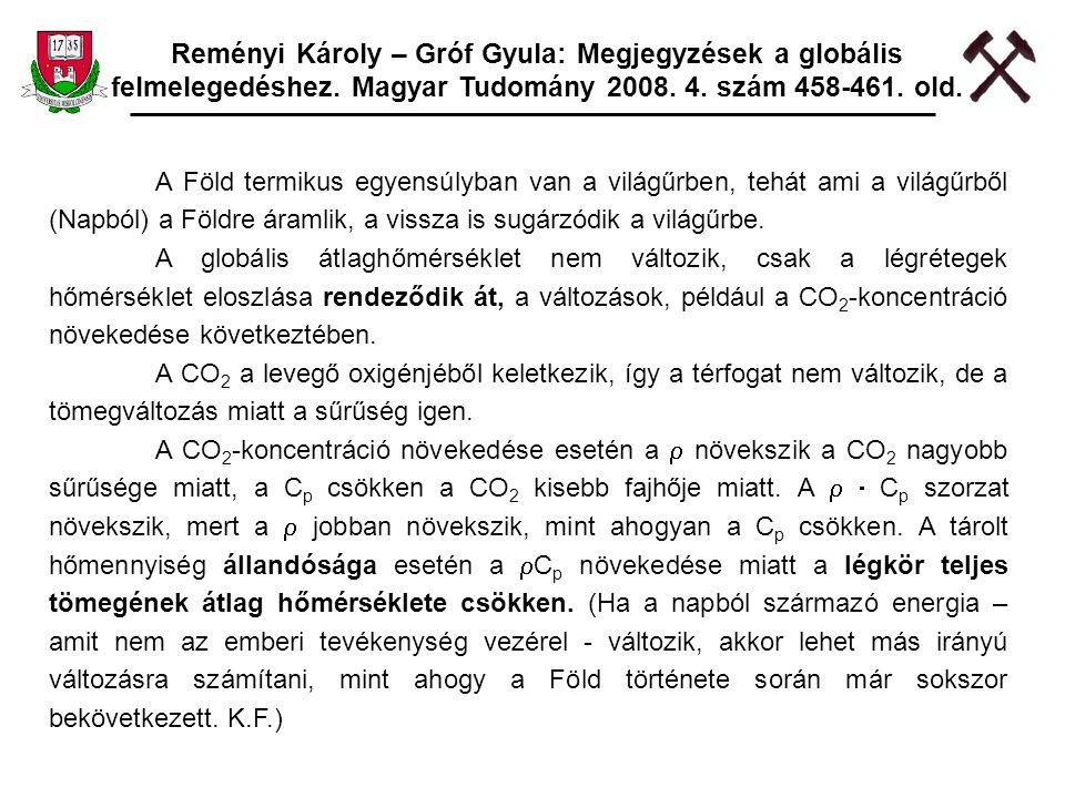 Reményi Károly – Gróf Gyula: Megjegyzések a globális felmelegedéshez