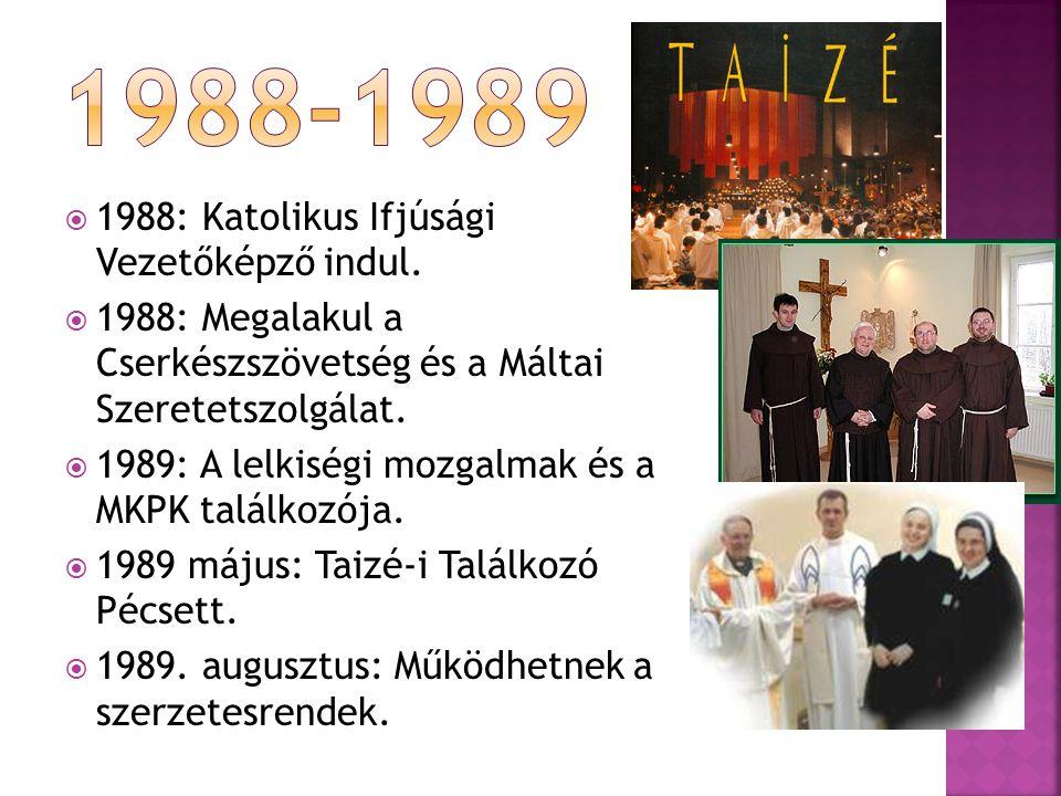 1988-1989 1988: Katolikus Ifjúsági Vezetőképző indul.