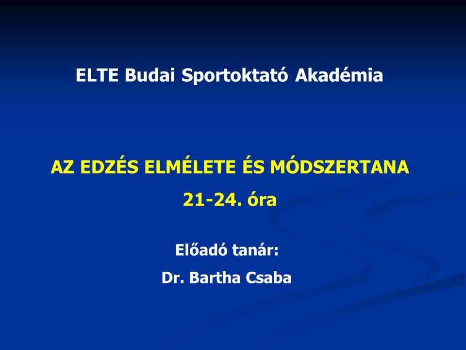ELTE Budai Sportoktató Akadémia AZ EDZÉS ELMÉLETE ÉS MÓDSZERTANA