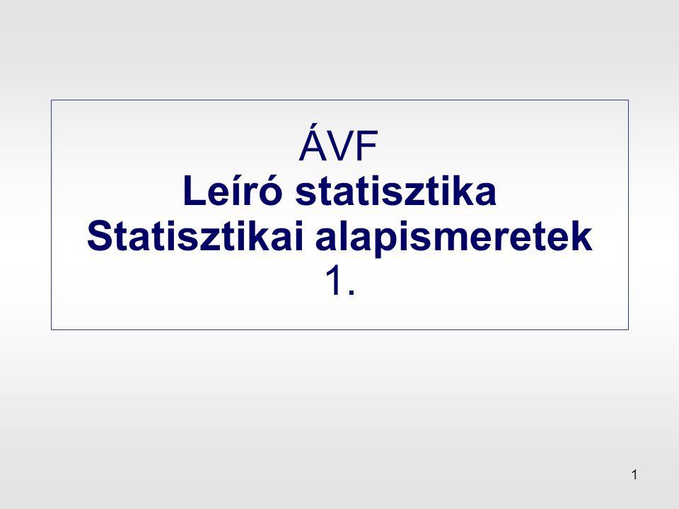 ÁVF Leíró statisztika Statisztikai alapismeretek 1.