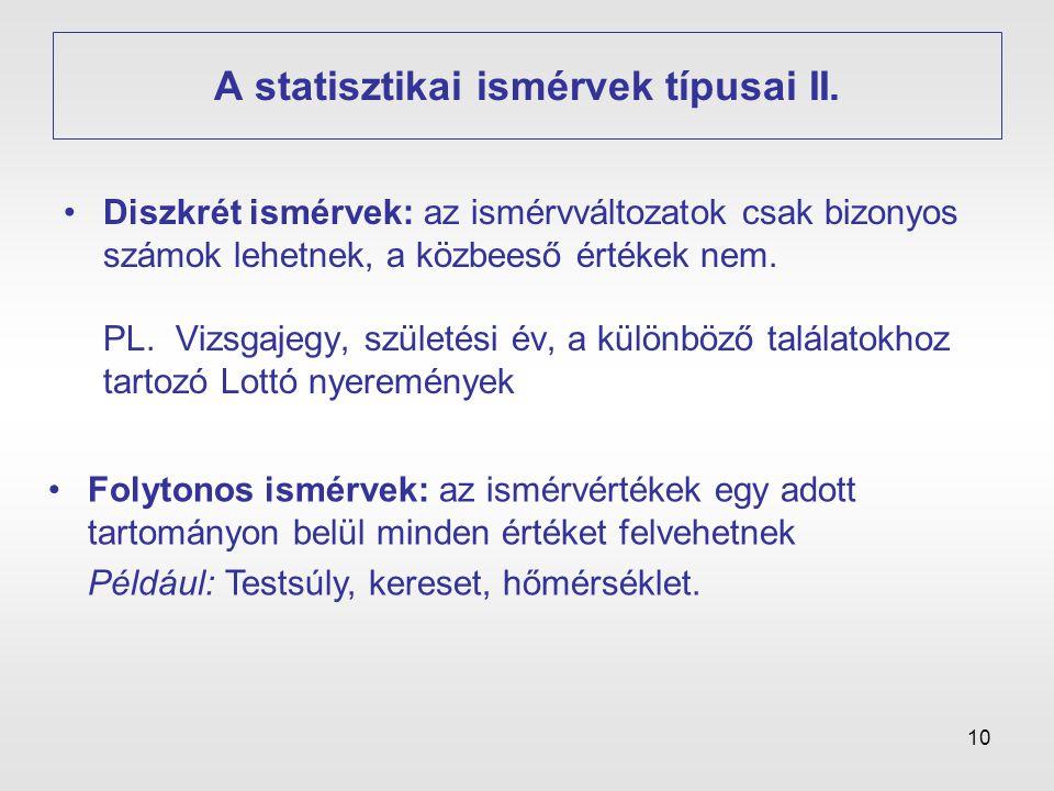 A statisztikai ismérvek típusai II.