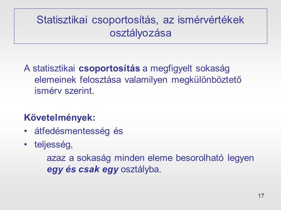 Statisztikai csoportosítás, az ismérvértékek osztályozása