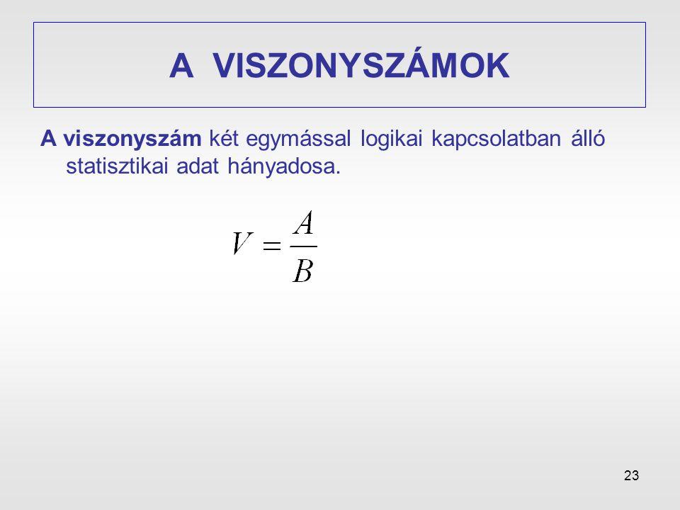 A VISZONYSZÁMOK A viszonyszám két egymással logikai kapcsolatban álló statisztikai adat hányadosa.