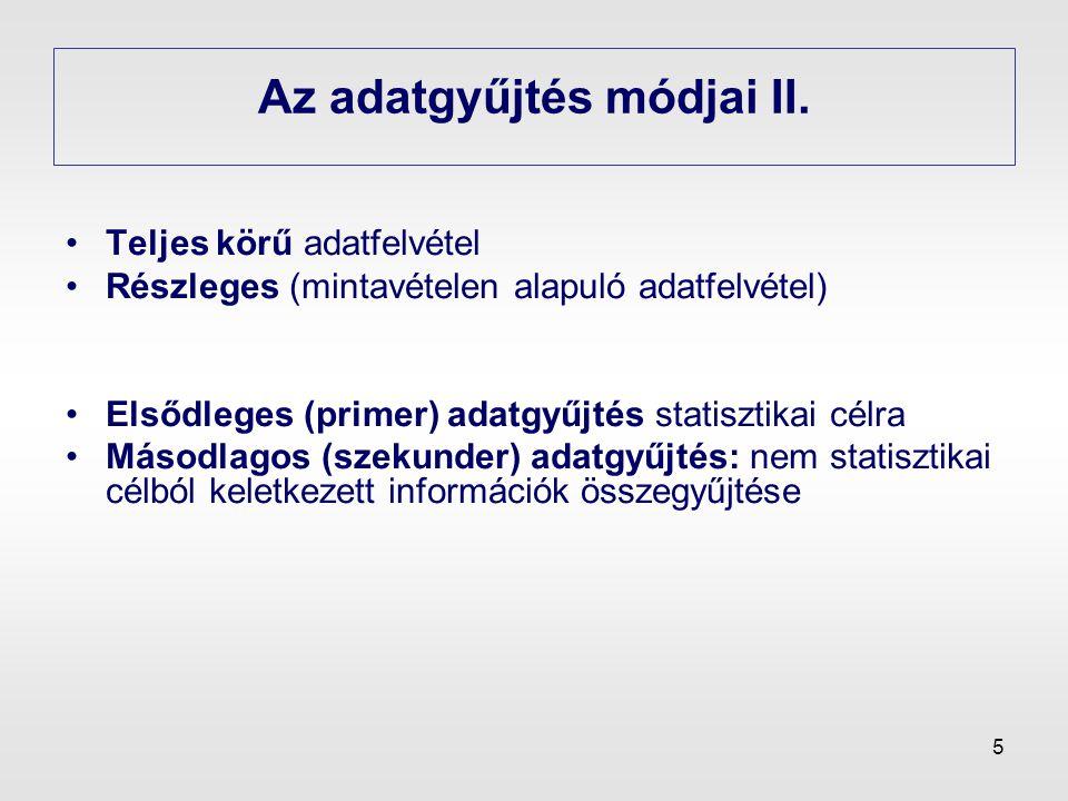 Az adatgyűjtés módjai II.