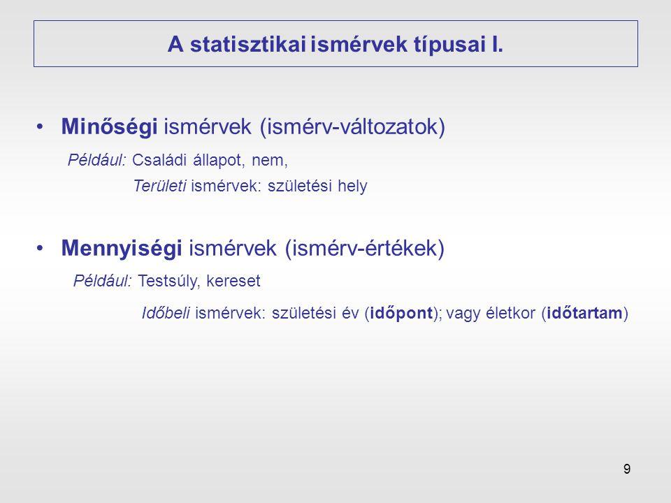 A statisztikai ismérvek típusai I.