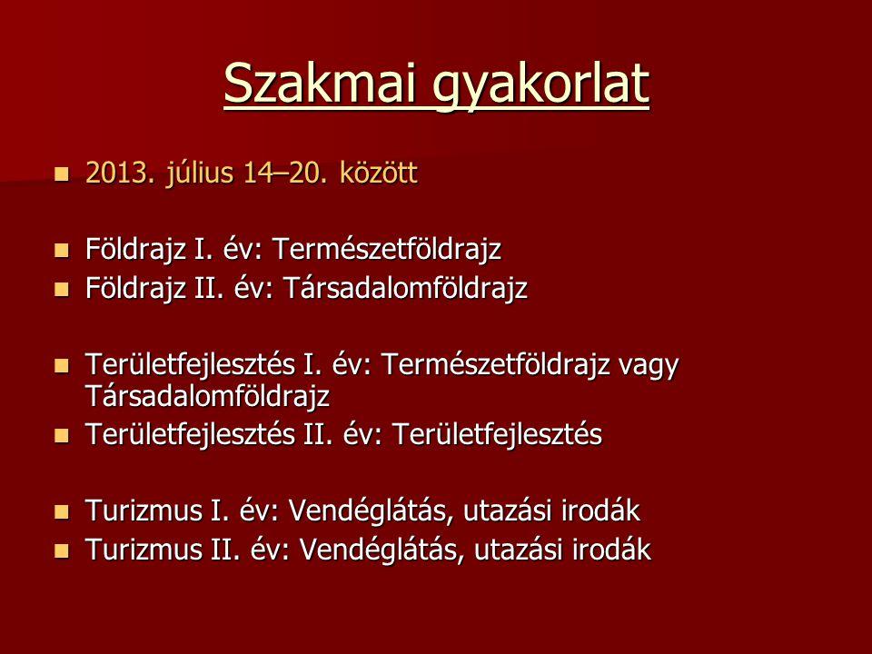 Szakmai gyakorlat 2013. július 14–20. között
