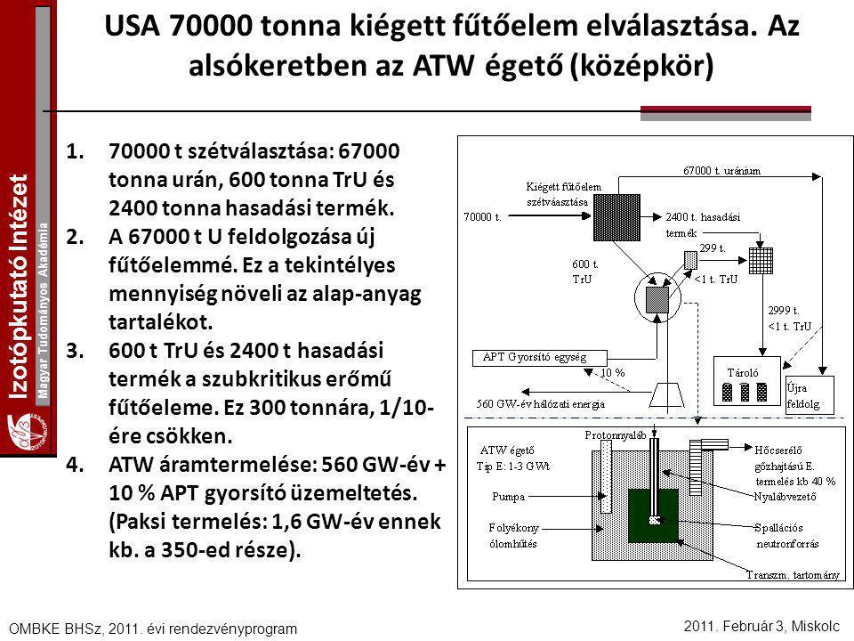 USA 70000 tonna kiégett fűtőelem elválasztása