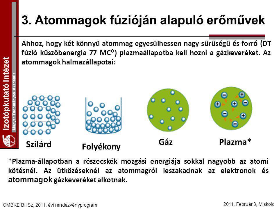3. Atommagok fúzióján alapuló erőművek