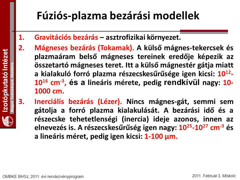 Fúziós-plazma bezárási modellek
