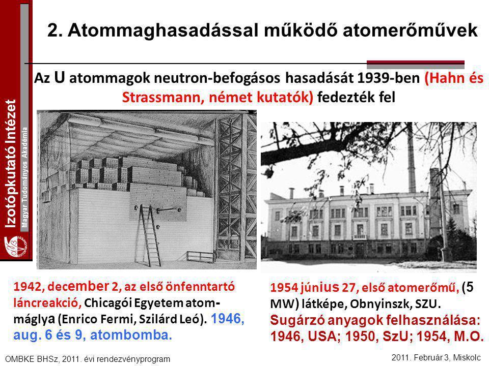 2. Atommaghasadással működő atomerőművek