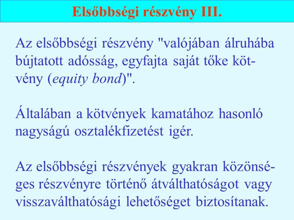 Elsőbbségi részvény III.