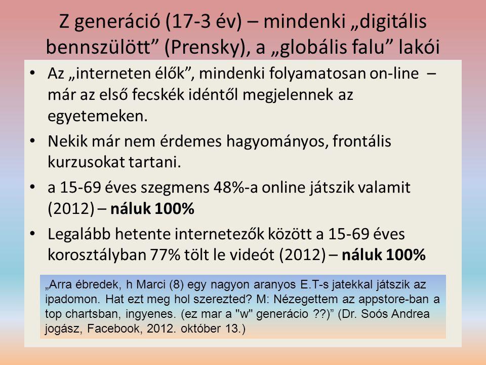 """Z generáció (17-3 év) – mindenki """"digitális bennszülött (Prensky), a """"globális falu lakói"""