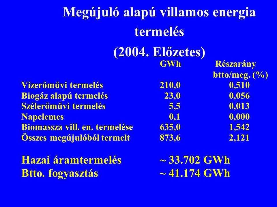 Megújuló alapú villamos energia termelés (2004. Előzetes)