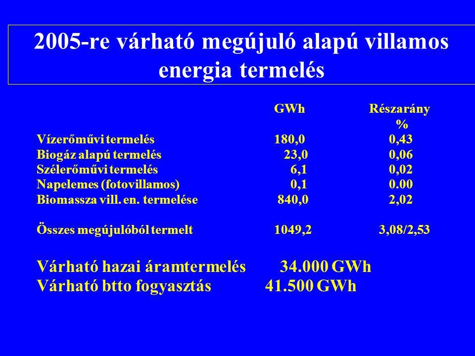 2005-re várható megújuló alapú villamos energia termelés