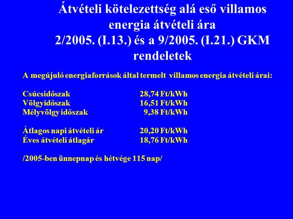 Átvételi kötelezettség alá eső villamos energia átvételi ára 2/2005. (I.13.) és a 9/2005. (I.21.) GKM rendeletek