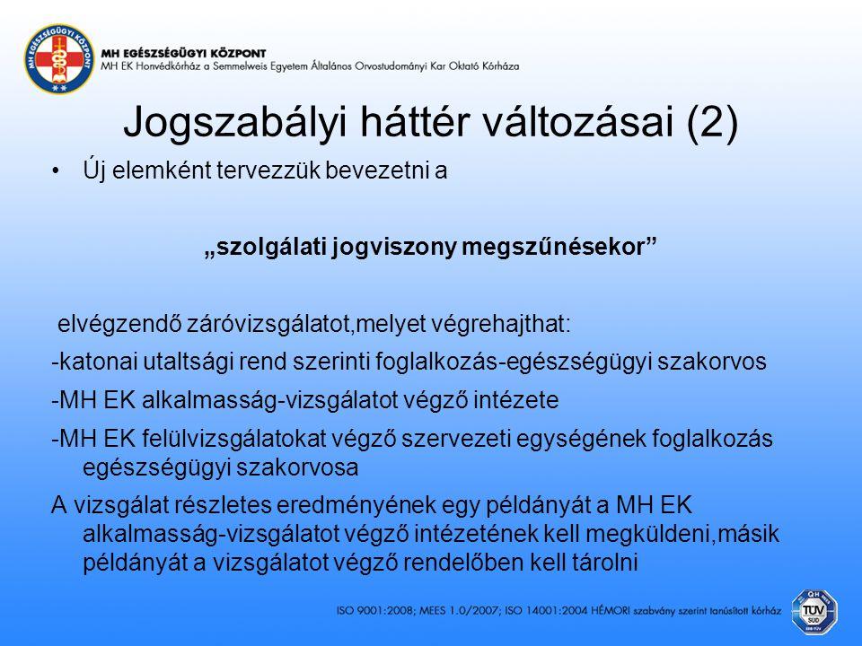Jogszabályi háttér változásai (2)