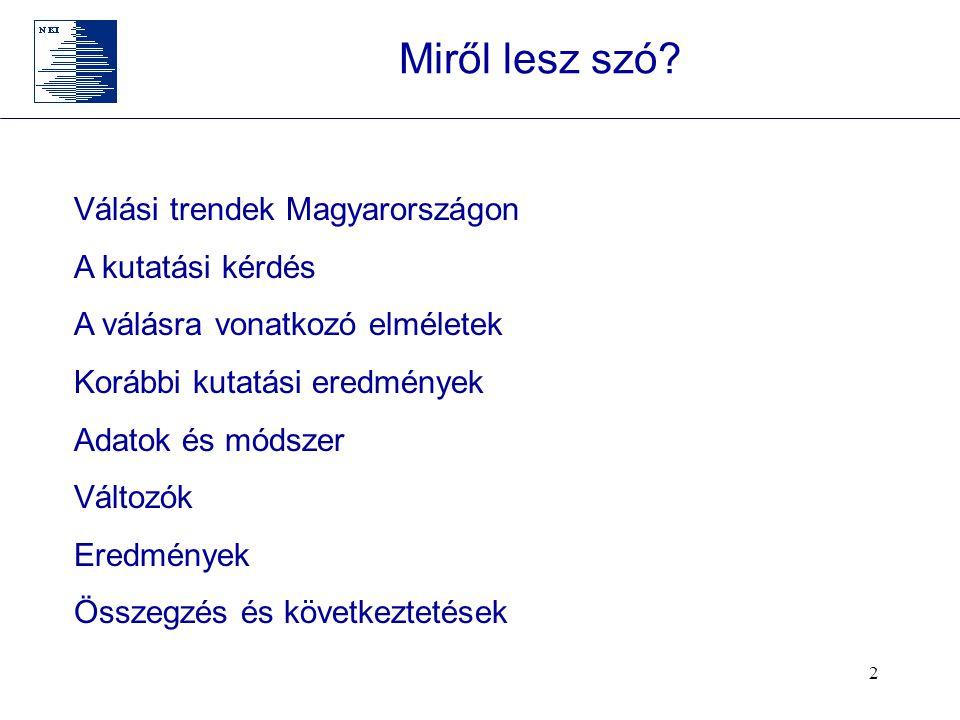 Miről lesz szó Válási trendek Magyarországon A kutatási kérdés