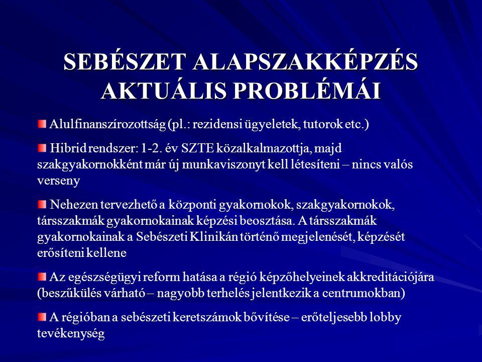 SEBÉSZET ALAPSZAKKÉPZÉS AKTUÁLIS PROBLÉMÁI
