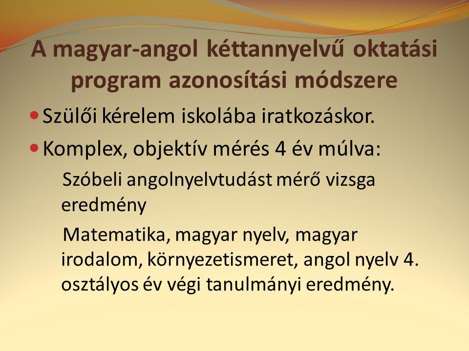 A magyar-angol kéttannyelvű oktatási program azonosítási módszere
