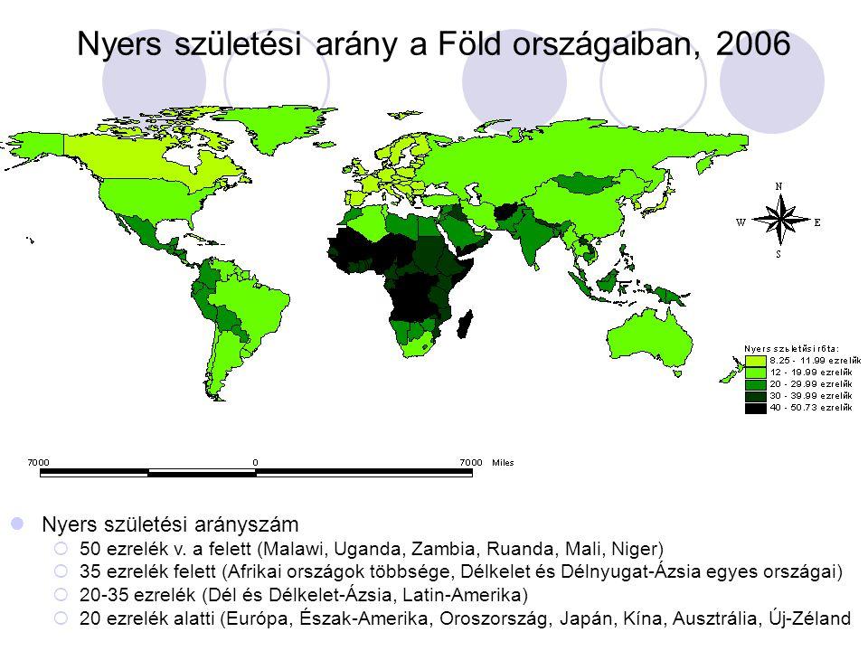 Nyers születési arány a Föld országaiban, 2006