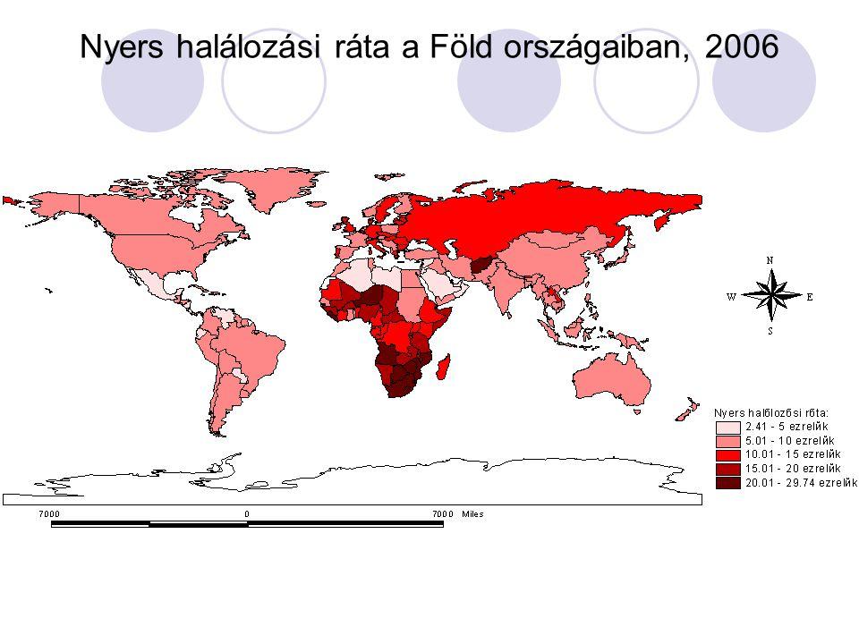 Nyers halálozási ráta a Föld országaiban, 2006