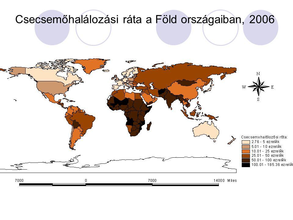 Csecsemőhalálozási ráta a Föld országaiban, 2006