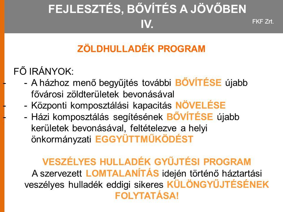 FEJLESZTÉS, BŐVÍTÉS A JÖVŐBEN IV.