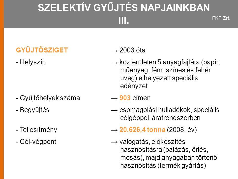SZELEKTÍV GYŰJTÉS NAPJAINKBAN III.