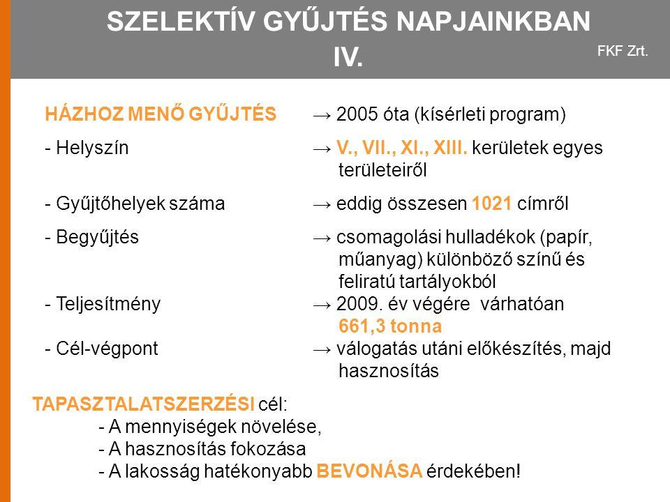 SZELEKTÍV GYŰJTÉS NAPJAINKBAN IV.