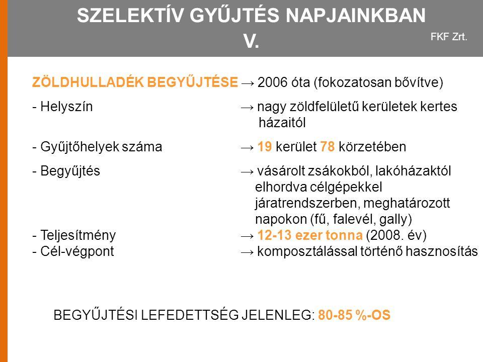 SZELEKTÍV GYŰJTÉS NAPJAINKBAN V.