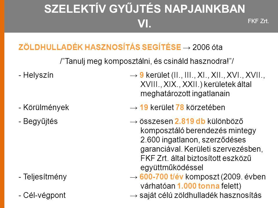 SZELEKTÍV GYŰJTÉS NAPJAINKBAN VI.
