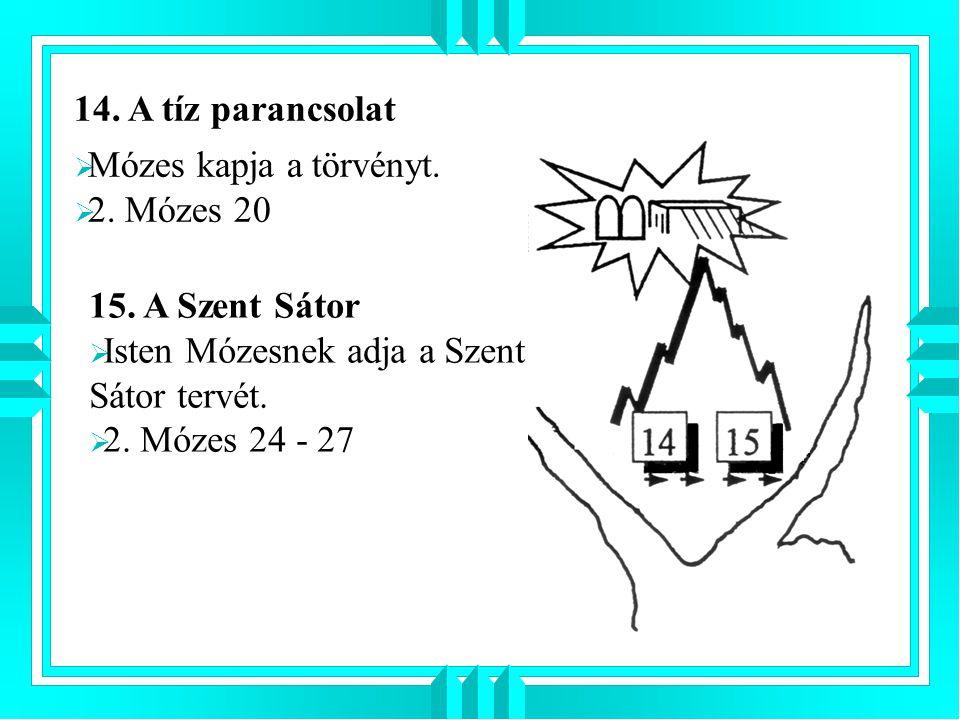 14. A tíz parancsolat Mózes kapja a törvényt. 2. Mózes 20. 15. A Szent Sátor. Isten Mózesnek adja a Szent Sátor tervét.