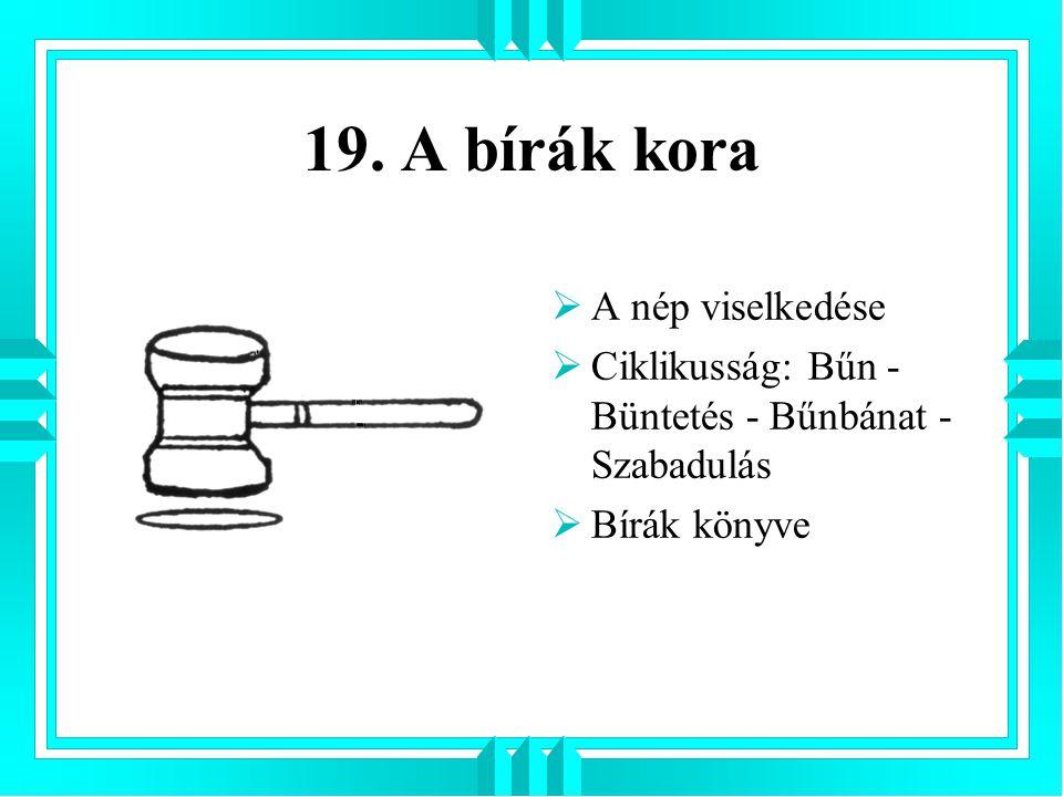 19. A bírák kora A nép viselkedése