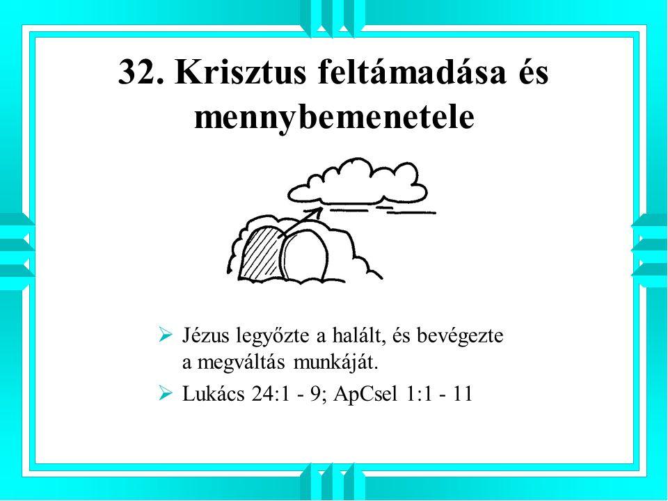32. Krisztus feltámadása és mennybemenetele
