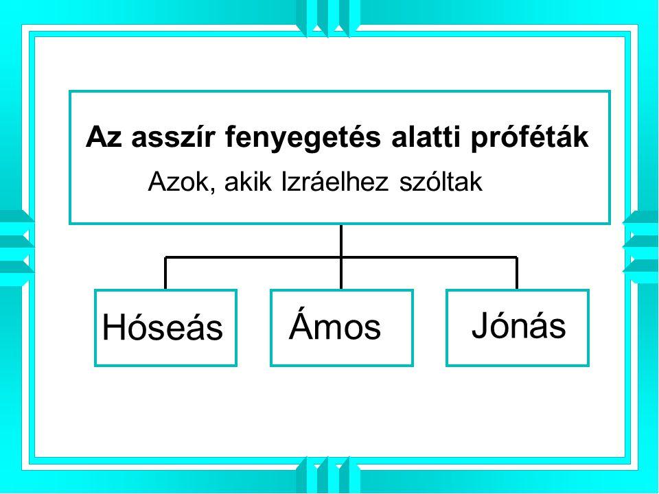 Jónás Hóseás Ámos Az asszír fenyegetés alatti próféták